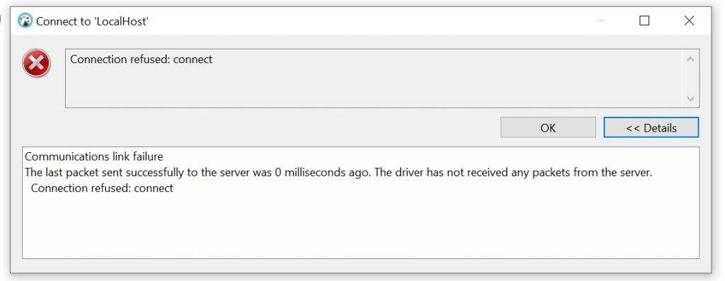 DBeaver Communication Link Failure